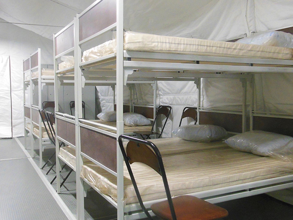 A military personnel accommodation tent (16-seat)
